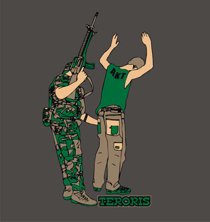 Terrorist checking a man