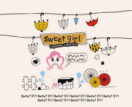 girl sketch: illustration cute girl Illustration