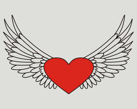 Isolated flying heart Vector