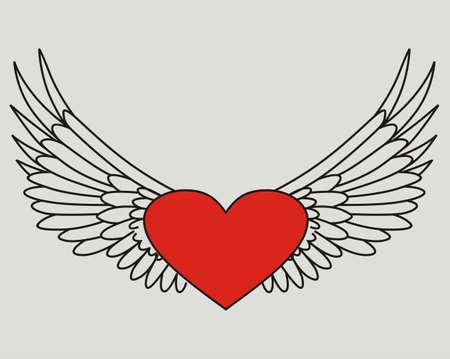 Isoliert fliegenden Herzen Standard-Bild - 20618986
