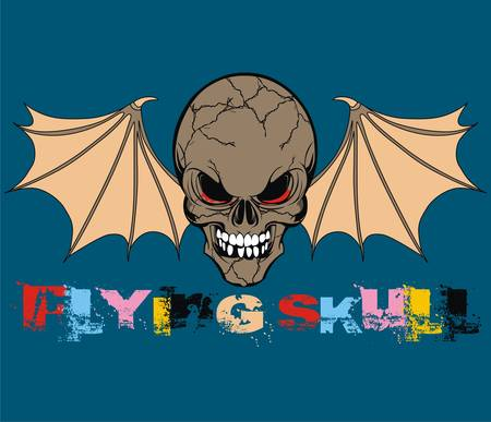 Flying Skull Illustration Vector