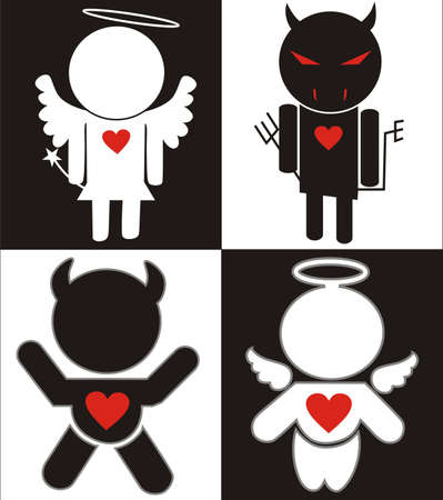 Black white Angel and Devil icons Vector