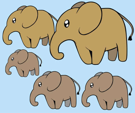 Big and little elephant isolated Vector