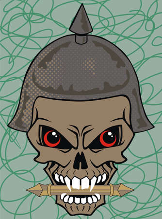illustration of a skull wearing a viking helmetn Vector