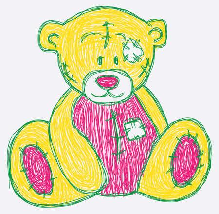 sketch cute bear Ilustração