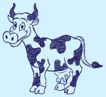 cute cow sketch Vector