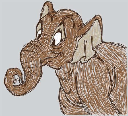 sketch elephant isolated Ilustração