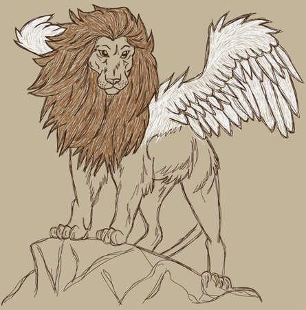 flying lion sketch