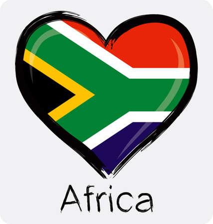 Liebe südafrikanischen Flagge Standard-Bild - 32559700