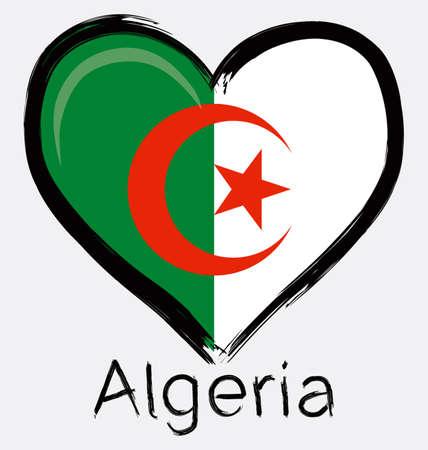 love Algeria Grunge Flag Ilustração