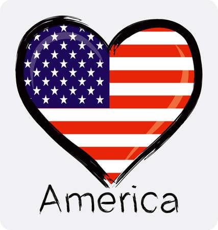 Liebe amerikanische Flagge mit Grunge Standard-Bild - 32561183
