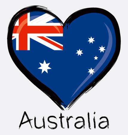grunge love Australia flag