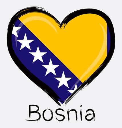 love Bosnian grunge flag