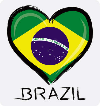 love Brazil grunge flag Ilustração