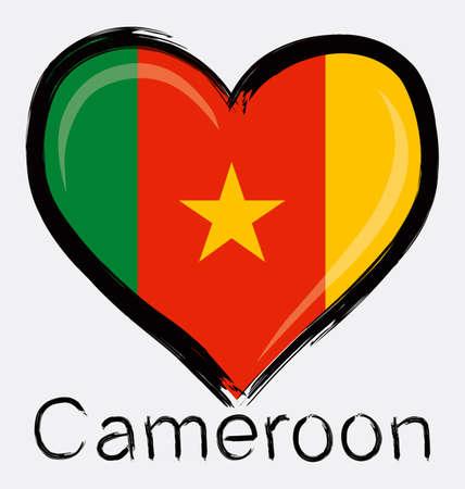 love Cameroon grunge flag Ilustração