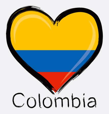 Liebe Kolumbien Grunge Flag Standard-Bild - 32561195