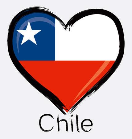 Liebe Chile grunge flag Standard-Bild - 32561197
