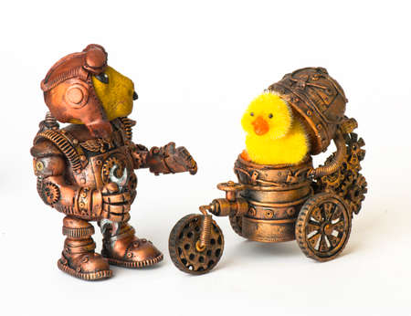 Steampunk robot. Rabbit egg tool. Cyberpunk style. Chrome and bronze parts. Isolated on white. Standard-Bild