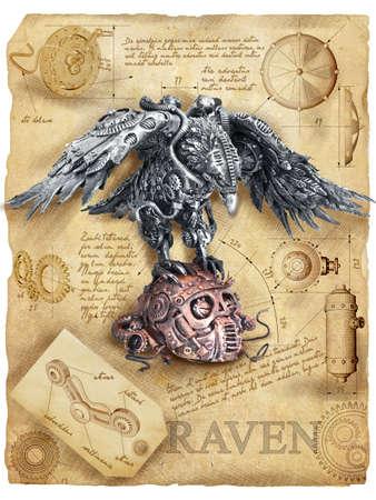 Steampunk Raven mechaniczny robot czaszka cichy Leonardo da vinci