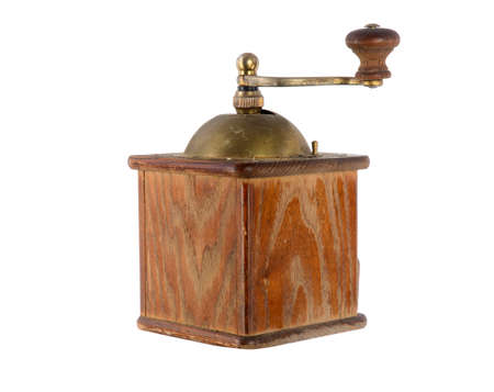 sides: Very old antique coffee grinder with a bronze handle and box for ground coffee on a white background and from different sides