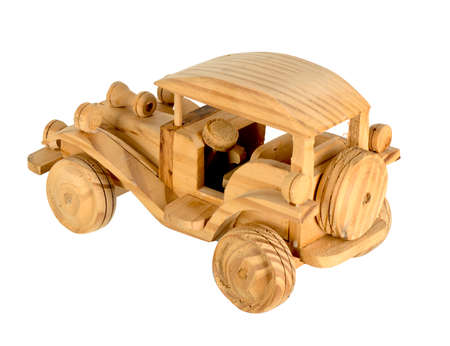 Toy wooden retro car on a white background for children and collectors from different sides large resolution