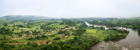 aerial photograph: Aerial picture of Makabana town in the western african rainforest, Congo.
