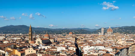 michelangelo: Panoramic view over Florence Italy with Duomo and Palazzo Vecchio, Tuscany, Italy. Stock Photo