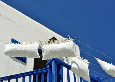 Behangen met tang gevangen in een balkon blauw en wit