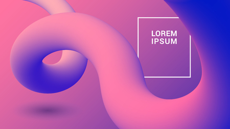 Organic plastic background with fluid 3D shapes. Trendy abstract gradient template.