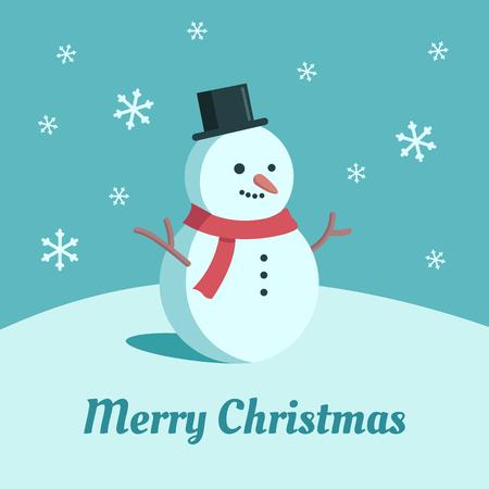 Cute illustration of snowman. Cartoon flat style Christmas card. Falling snow blue background.