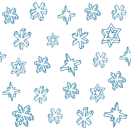 Set of 3D hand drawn snowflakes. Christmas seamless pattern. Vector illustration.