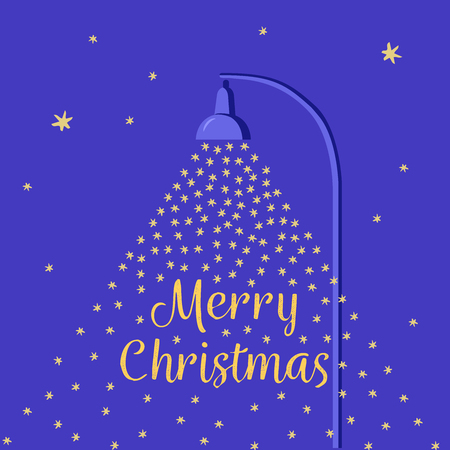 Falling snow lit by a street lamp. Cartoon flat style Christmas card. Night sky with stars.