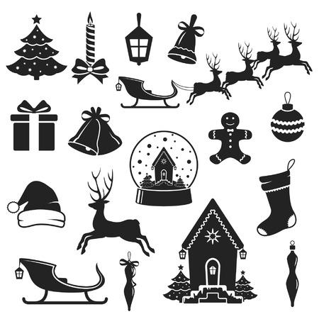 renos de navidad: Iconos negros de Navidad y año nuevo ilustración vectorial