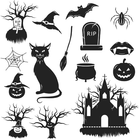 tombstone: Halloween black and white icons set  vector illustration