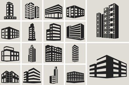 bank office: Buildings vector web icons set