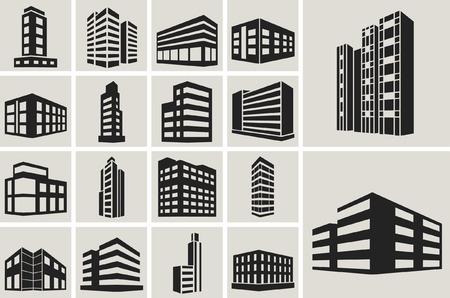 construccion: Iconos del Web de Edificios conjunto de vectores