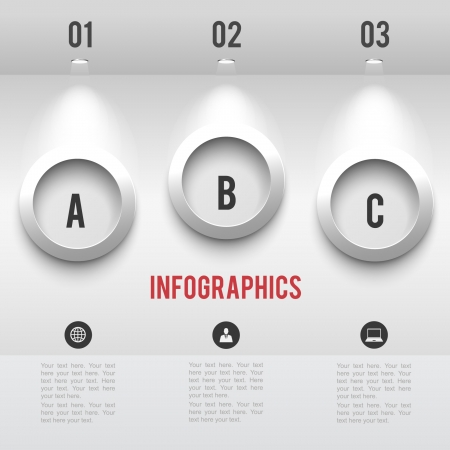 light spot: Paper infographic elements with shadows at wall with halogen lamp  vector graphic business modern template Illustration