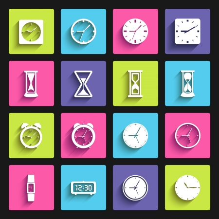 sand timer: Clock flat design icon set  template elements for web and mobile applications
