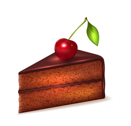 Piece of chocolate sponge cake with cherry isolated on white vector icon
