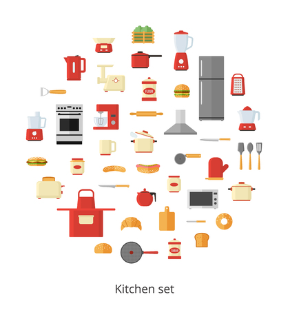 mincer: Kitchen appliances and utensils, electrical equipment and tools in circle shape isolated on white background. Vector icons set Illustration