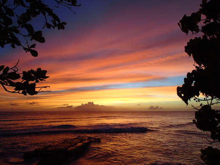 Beautiful sunset with impressive clouds in Barbados Stock Photo