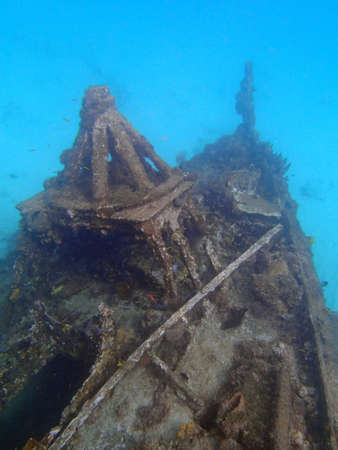 Shipwreck on the seabed off Barbados