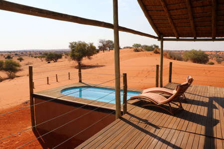 swimming pool with beautiful view in the kalahari desert - Namibia