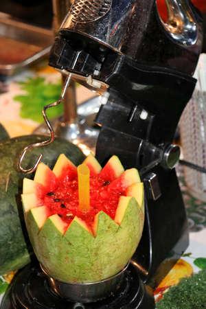 Melons smoothie with blender at night - Kota Kinabalu Sabah Borneo Malaysia Asia