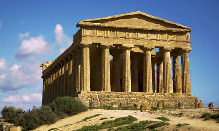 a temple in the temples valley in agrigento, sicily, italy