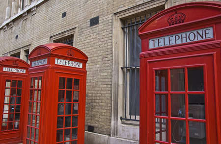 red old london phone booths photo