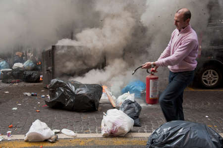 Naples, Italy, december 8, 2010. strike and violence during a student strike