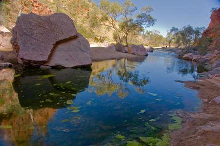 빨간 센터, 북부 영토, 호주에있는 사막 연못 스톡 콘텐츠