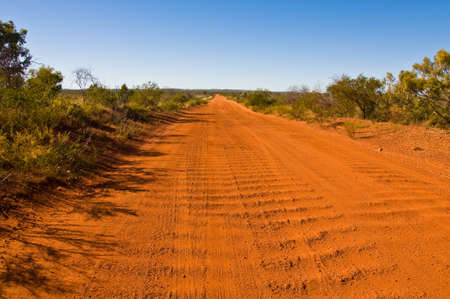 outback australia: dirt road in the australian outback Stock Photo