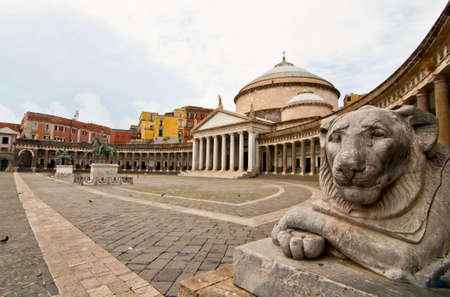 view and details of piazza plebiscito in naples, italy
